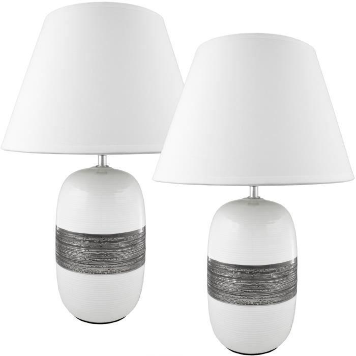 Brubaker Lampe De Table De Chevet Lot De 2 Pied En Ceramique