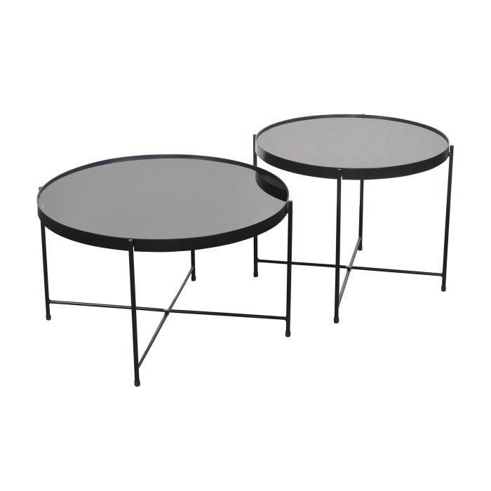 By Demeyere Alicia Lot De 2 Tables Basses Rondes En Verre Trempé Noir Et Pieds Métal Noirs 62x62x36 Et 52x52x41 Cm