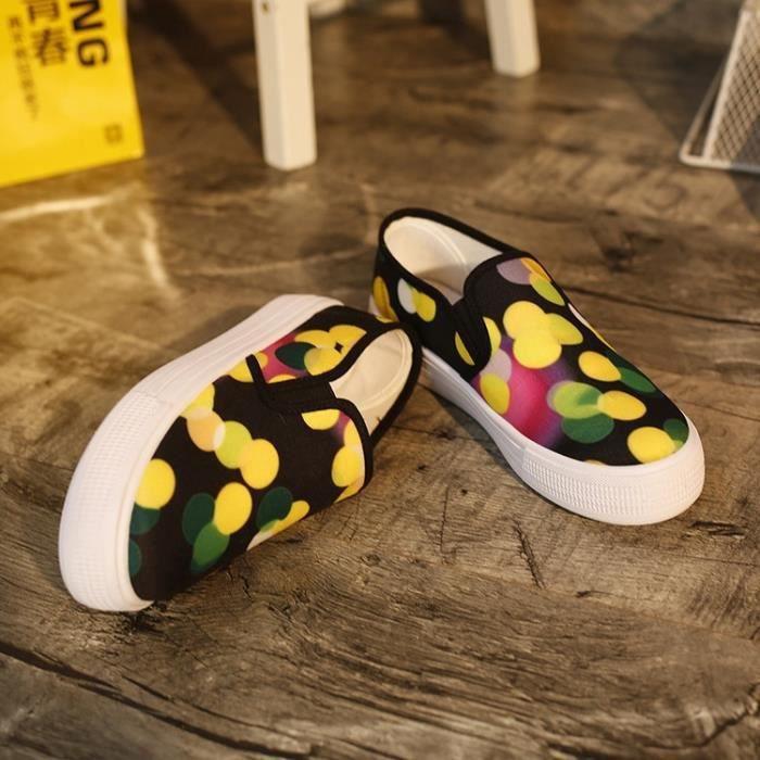 Chaussures femmes simples Appartement avec Slip-on marée Chaussures Chaussures de toile