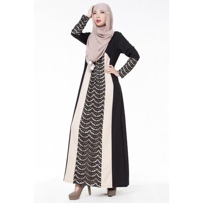 Robe musulmane avec longue jupe manches vetement éthnique Couture dentelle