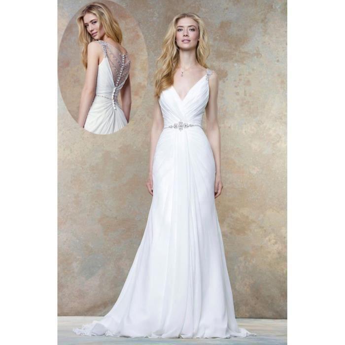 Robes de Mariée Mariage Femme Longue En A Elegant Sexy Dos Sans Manches Taille 36-46 Blanc