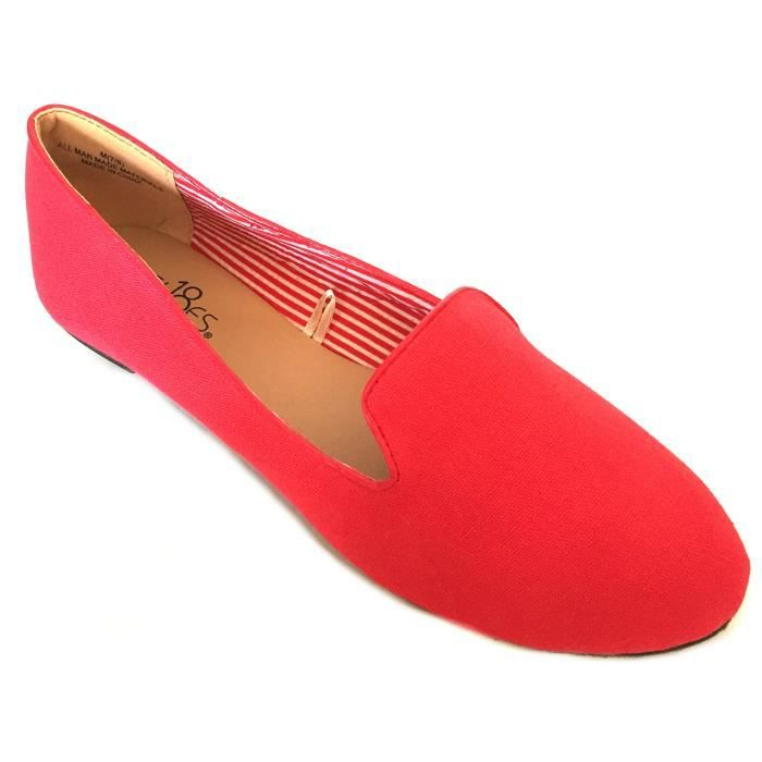 Flats Smoking Loafer Shoes RD58F Womens Taille Ballet 38 Canvas EwAqxWZFHX