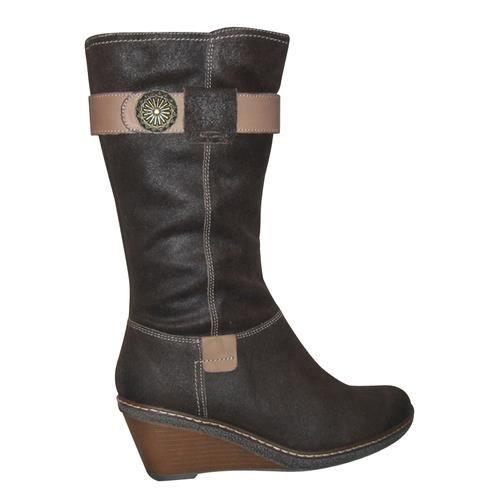 Bottes femmes FUGITIVE compensées confort marron cuir