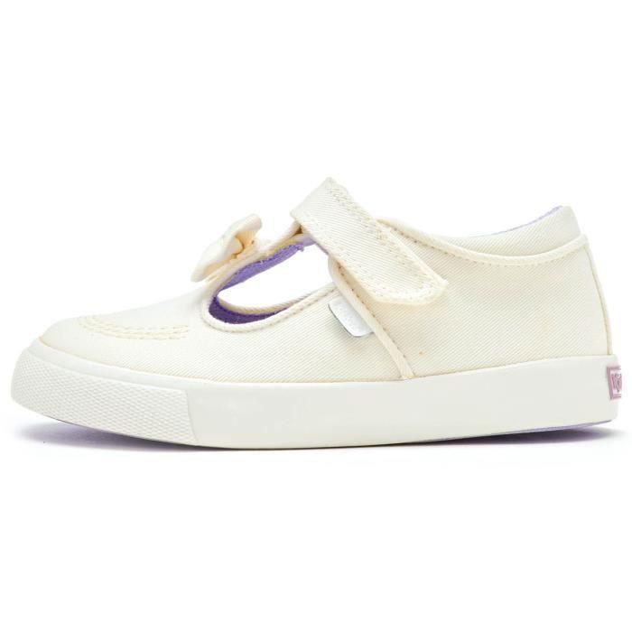 Kickers Tonvi T- Bar Bow Infant Textile Chaussures en Blanc 114597 [Enfant UK 10EU 28]