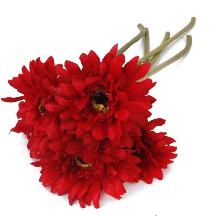 5pcs Fleur Gerbera Artificielle Decoration Mariage Rouge Achat