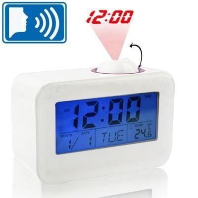 Réveil Digitale Blanc Horloge À Projection Sonore Temps Contrôlé Avec Calendrier Et Affichage Cristaux Liquides