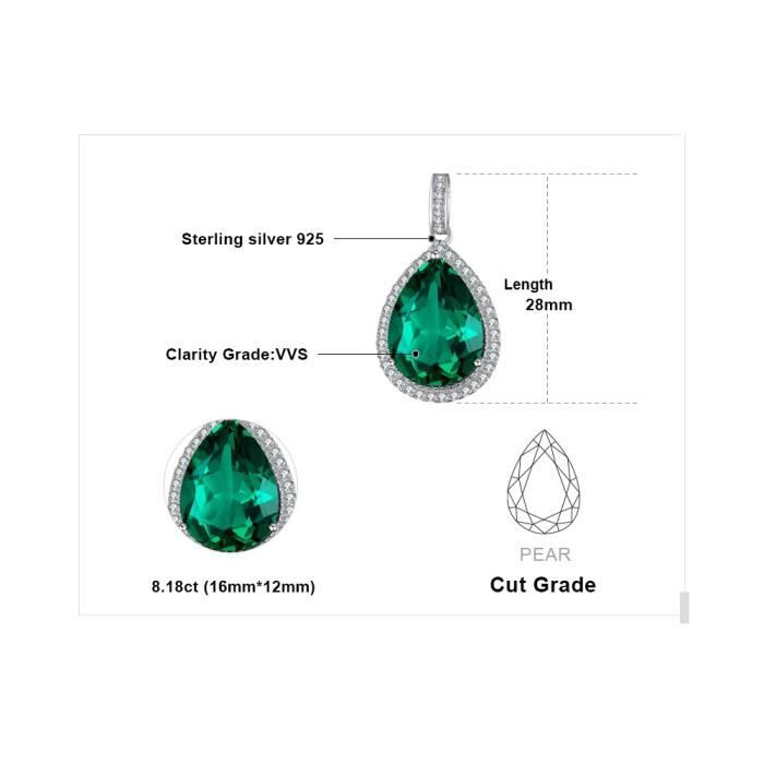 Jewelrypalace Womens Pear Cut Created Ruby Created Sapphire Simulated Nano Russian Emerald Solid 925 Sterling Si R1G0B