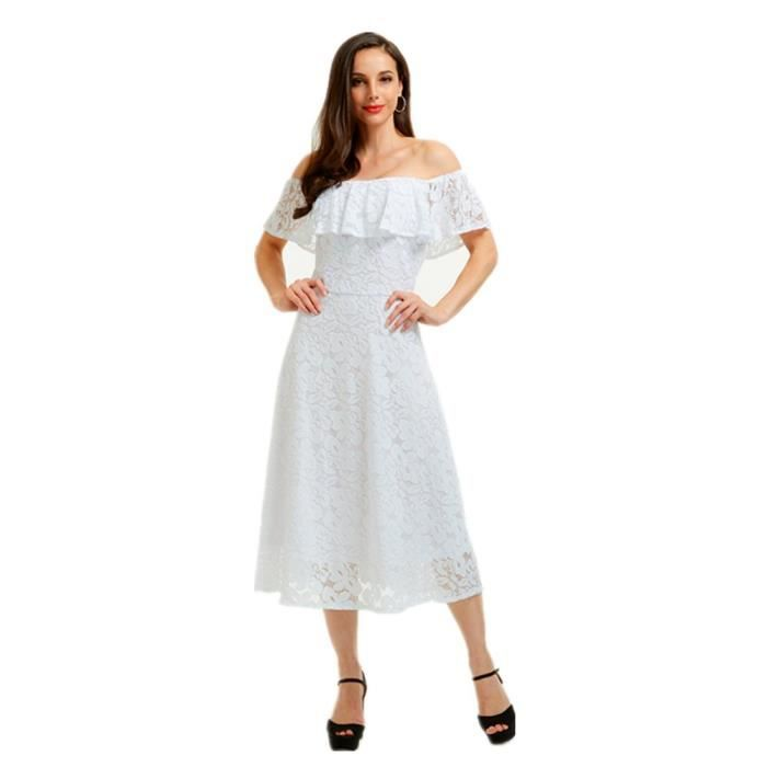 Womens Vintage Floral Lace Off Shoulder Swing Cocktail Party Dress For Wedding 2L6JJH Taille-36