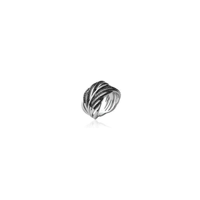 Isady - Adonia OZ Noir - Bague Femme - Argent Sterling 925 Rhodié - Oxyde de zirconium