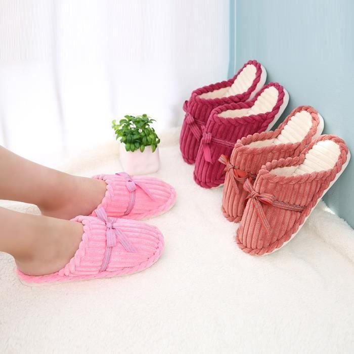 New Femmes Chaussures Pantoufles Printemps Automne chaud Corduroy Chaussons Mode antidérapants Noeud papillon souple Chaussons itI6521Thw
