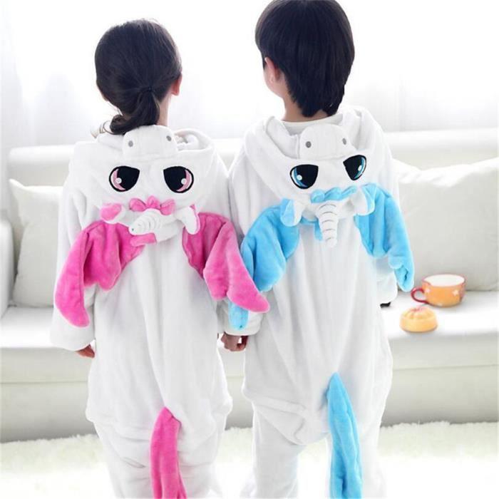 Pajamas Cosplay Manches Enfants Flanelle À Licorne Capuche Kigurumi Hiver Pum Pyjama Longues qgaStt