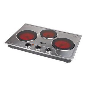 NOVA Plaque de cuisson posable céramique ? 3 foyers (2 x 18 et 15 cm) ? 2 x 1200W et 900W - Inox