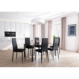 TABLE À MANGER COMPLÈTE Table à manger L160 cm ELSA noire en verre trempé da9759d39849