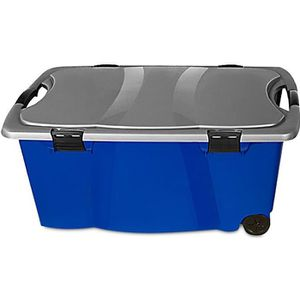 BAC DE RANGEMENT OUTILS Caisse en plastique Bleu/Gris 170 Litres 2 poignée