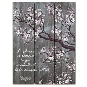 cadre bouddha bois avec citation le plaisir se ramasse achat vente tableau toile. Black Bedroom Furniture Sets. Home Design Ideas