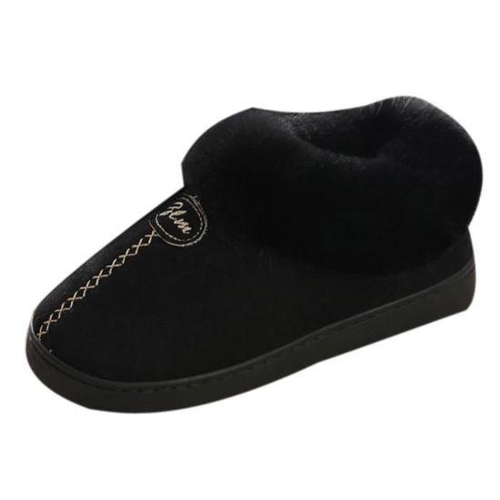 e50deef6ade Plate Maison Bottes Chaussures slip Neige De Non Couple D hiver Chaude  forme Noir Wedge 8Yq4Uqdxw