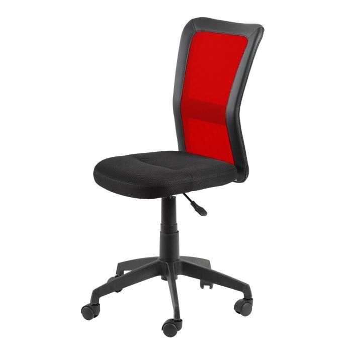 De bureau - Plastique - Tissu noir et rouge - Contemporain - L 48 x P 53 cmFAUTEUIL