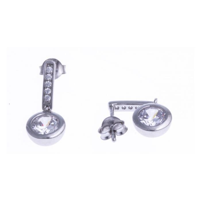 Boucles doreilles argent rhodié - zircons - ZA 558 Gris