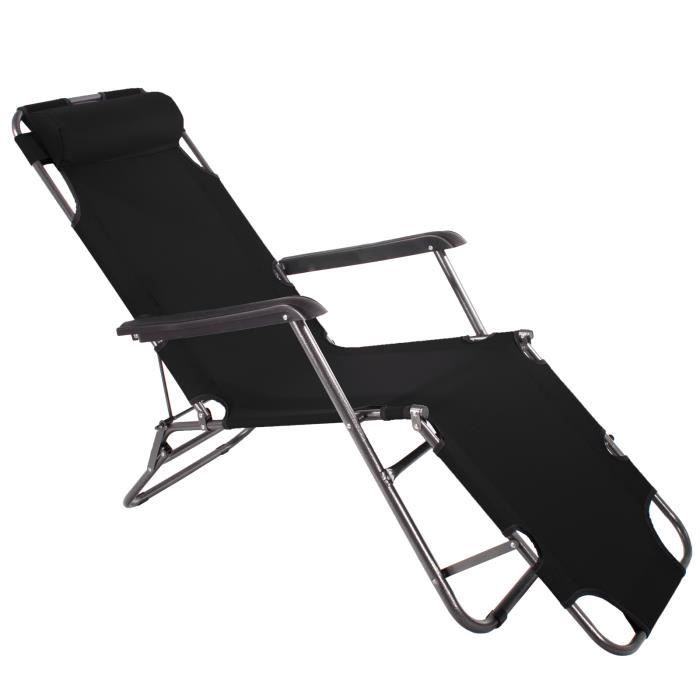 Chaise longue de jardin pliante transat bain camping Siège de jardin ...