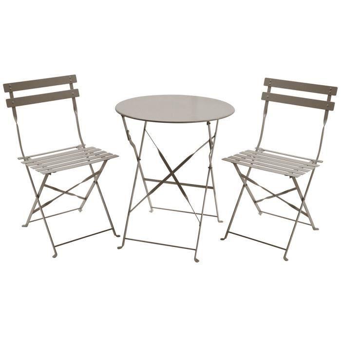Charles Bentley - Salon de jardin pliable 3 pièces - table ronde/2 chaises  - style bistro - métal - taupe