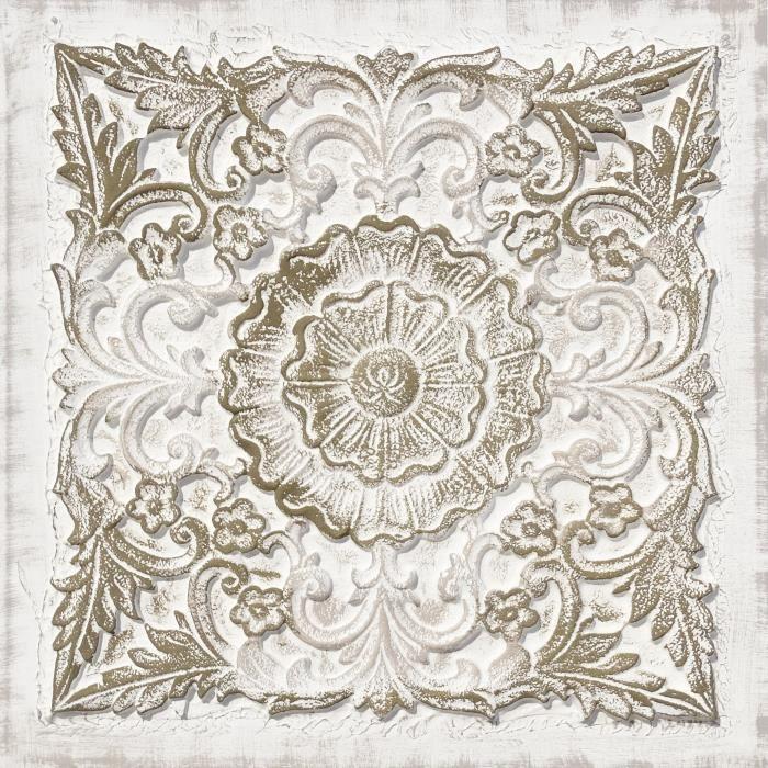 toile peinte relief carreaux de ciment vintage coton 80x80 cm rose dor et blanc. Black Bedroom Furniture Sets. Home Design Ideas
