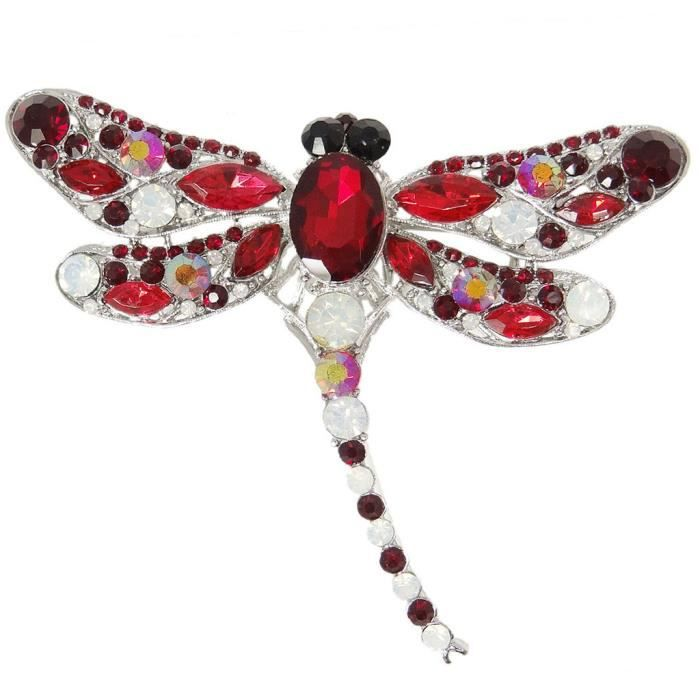 EVER FAITH®-Broche Animale Libellule Rouge Cristal Autrichien Elégant Mignonne Claire Plaqué Argent A11932-2