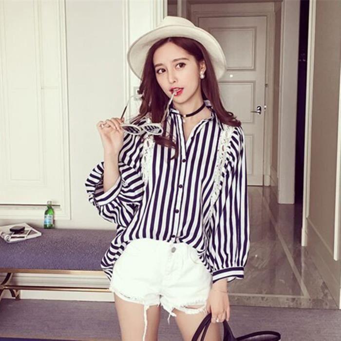 femmes blouse 2016 style cor en batwing sleeve striped. Black Bedroom Furniture Sets. Home Design Ideas