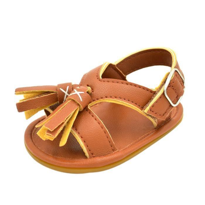 BOTTE Nouveau-né bébé garçon fille gland étape chaussures sandales chaussures molles chaussures antidérapantes@BrownHM QAkPV7