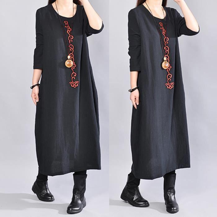 5342fb618f1 Robe longue en coton et lin à manches longues pour femmes Noir Noir ...