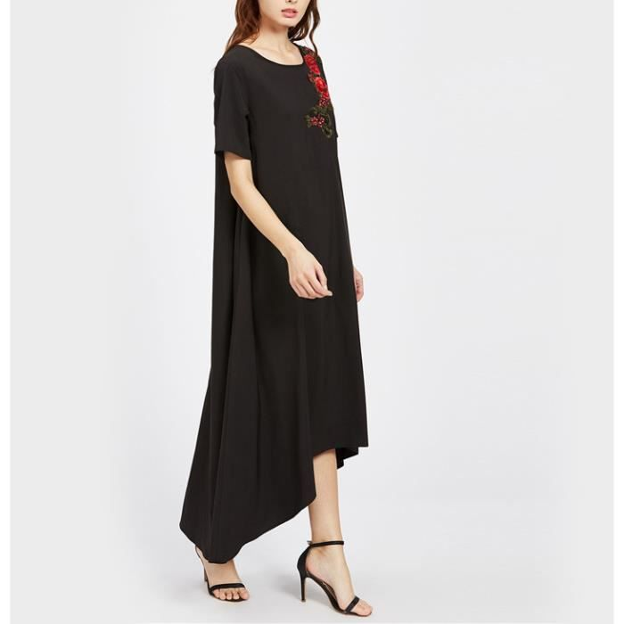 Brodé fleur robe Appliqué-lo salut haut bas femmes robe longue noir ourlet plongeant casual robe lâche