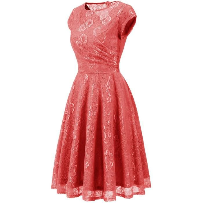 Womens Retro Floral Lace Dress Vintage Cocktail Dress Short Bridesmaid Dress With Sleeves 2ZB7DP Taille-38