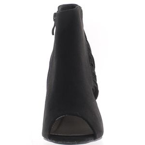 épais Franges 38 Bottes talon ouvertes 3GBD39 9cm avec Taille avec noires 7qaaA0wxX