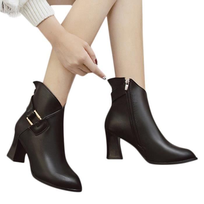 Cheville Femmes Haut Mode Bottes Shoes Talon Toe Métal Martin Épais Round Zip confor2970 1Crw01