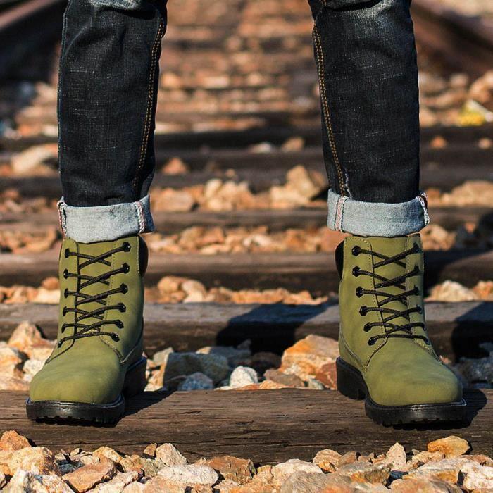 Bottes Fourrure Armée Doublé Martin Automne Bottines Hommes Chaud D'hiver Verte Chaussures Les qwSUxzEn