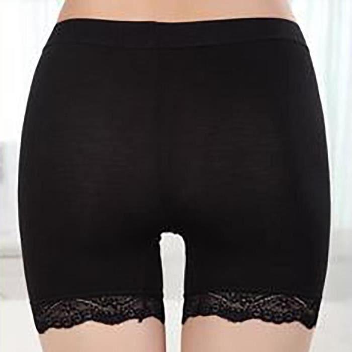 vêtements Dentelle Sous Sécurité Femmes Sans Leggings Shorts Pantalons noir Free Stretchy Soudure Simple Solides ttZqY0w