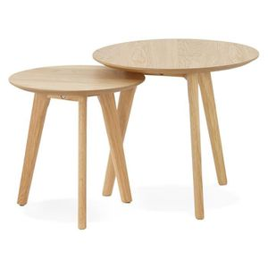 TABLE BASSE TABLES GIGOGNES RONDE 'ESPINO' EN BOIS NATUREL DIM