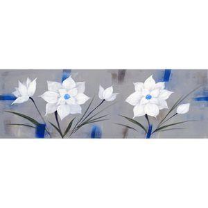 TABLEAU - TOILE FLEURS BLANCHES Toile peinte 50x150 cm Blanc, bleu