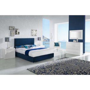 STRUCTURE DE LIT Lit ANAPU 140x190-200cm en velours bleu marine - L