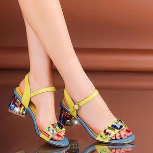 bout ouvert sandales sangle Nouveau à cheville strass épais jaune A0nwZqS