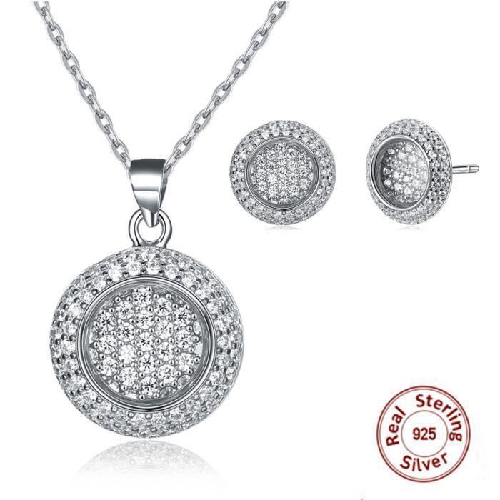 PARURE Bijoux femme en Swarovski Elements Cristal Plating Platinum Rond Pendentif Collier + Boucles doreilles
