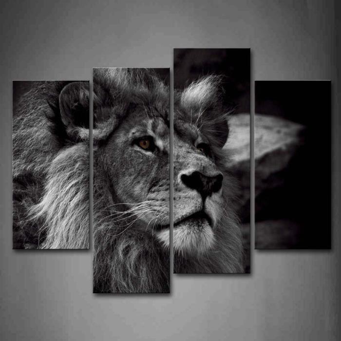 noir et blanc t te de lion gris portrait art de mur. Black Bedroom Furniture Sets. Home Design Ideas