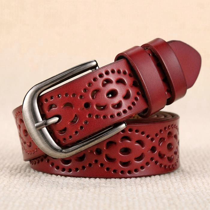 2154d16a6414 La nouvelle ceinture en cuir creux sauvages loisir modèles féminins ceinture  fine boucle ardillon simple mode décoratif