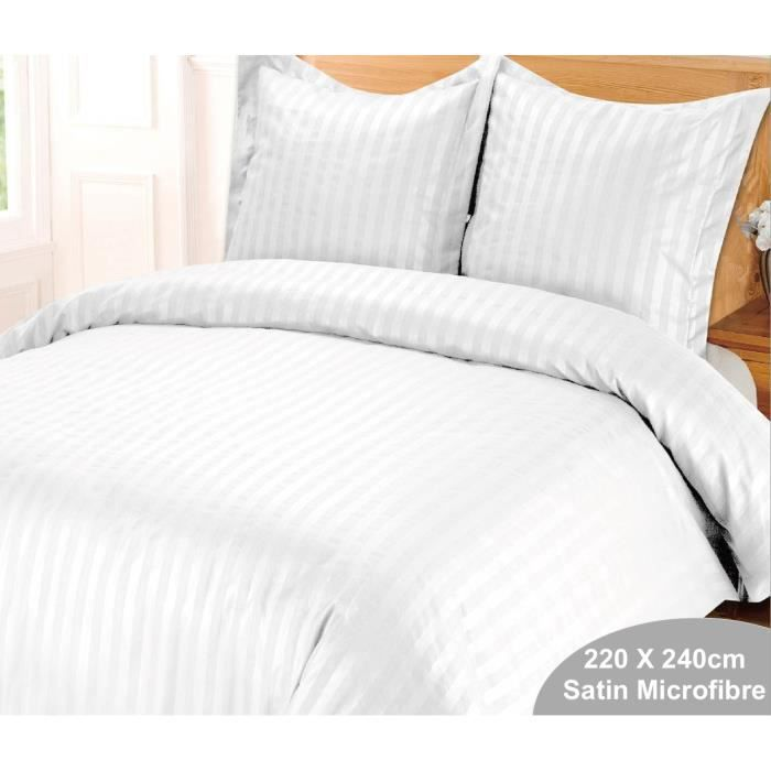 Housse de couette blanche satin strippe ray es 220 x 240 for Housse couette satin