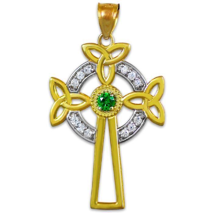 Pendentif10 ct 471/1000 Deux tons dor Celtiquees Croix Celtique Pendentif Avec diamant taille émeraude