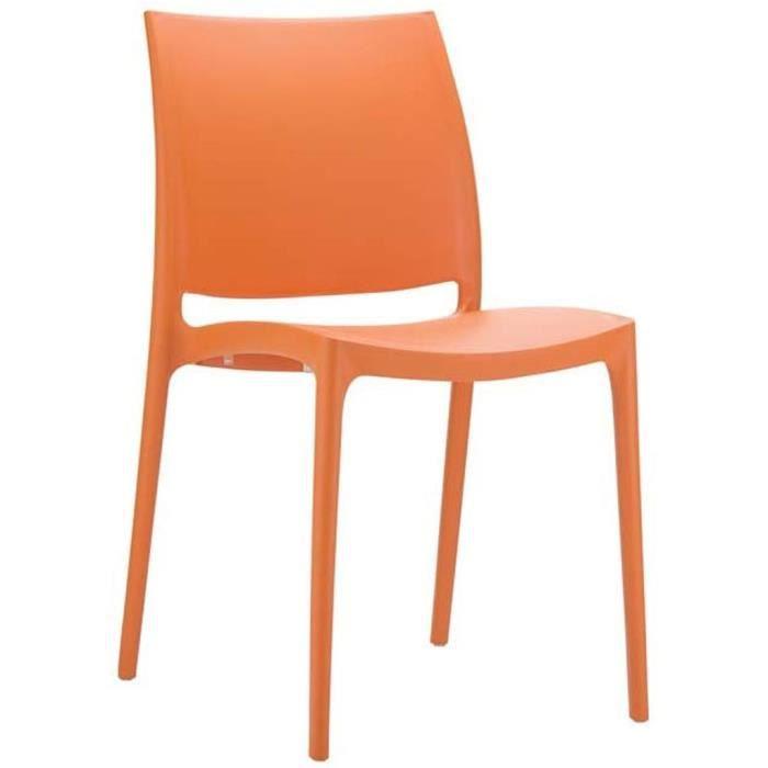 Chaise de jardin empilable en plastique orange, Dim : H81 x P50 x ...