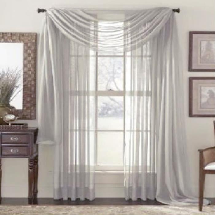 rideau voilages oeillet pour chambre salon f te mariage 100 200cm gris achat vente rideau. Black Bedroom Furniture Sets. Home Design Ideas