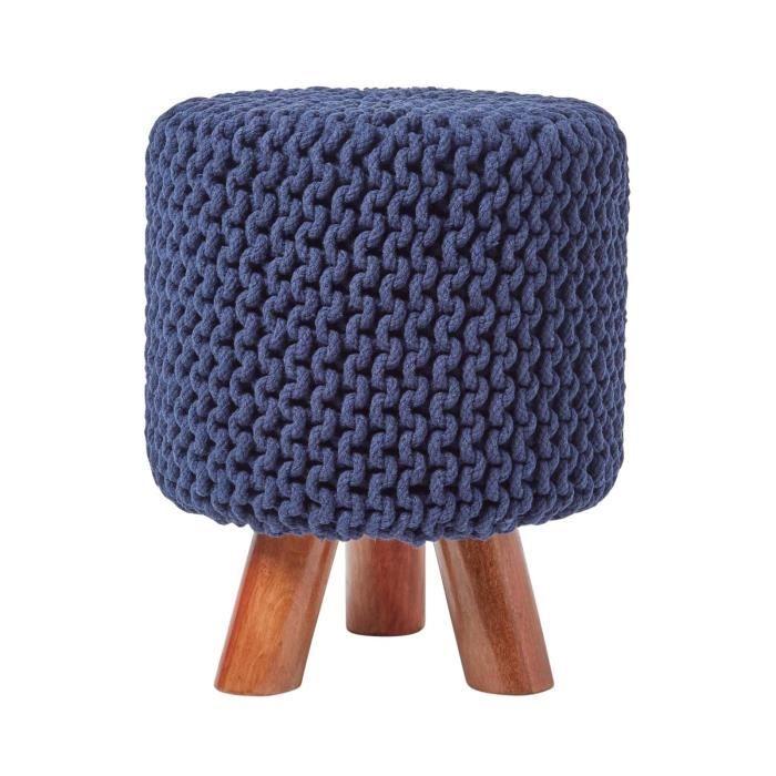 Pouf tressé en tricot et pieds en bois Bleu marine - Achat   Vente ... 619bb4ffa2b