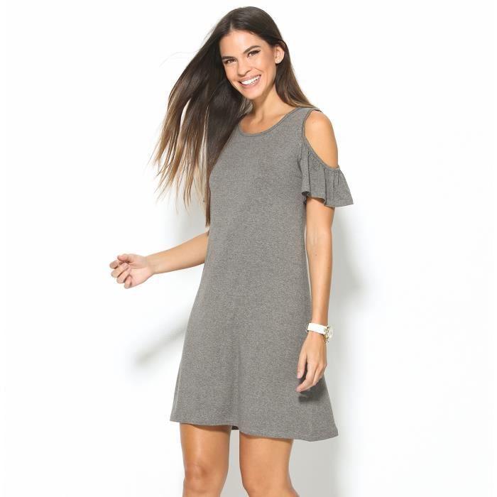 1cab53318fc Robe grise élastique manches courtes femme Venca Gris - Achat ...