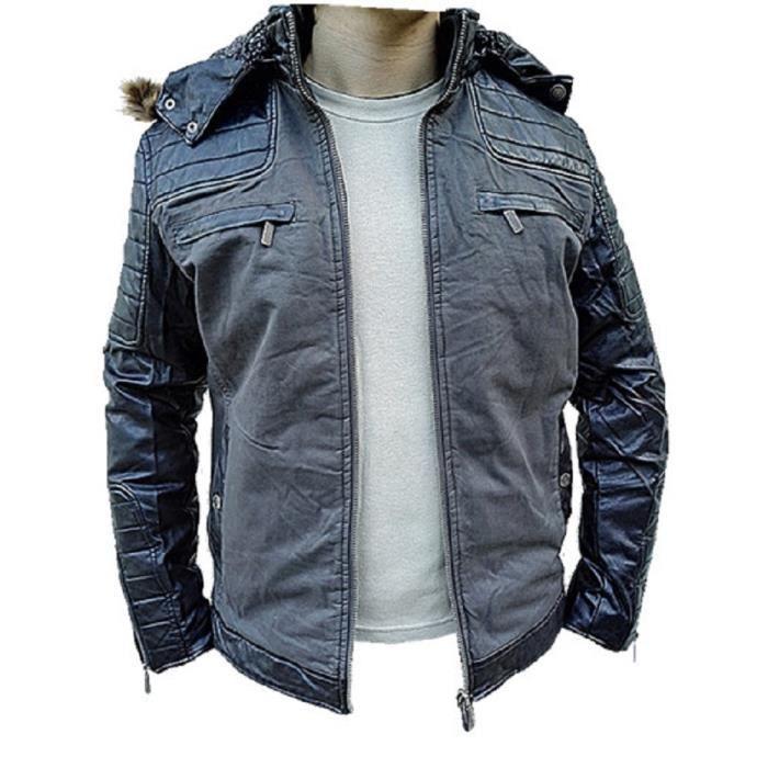 911140104023 Jacket Blouson Veste Cuir Manteau Homme Hiver Capuche Simili x5qwTqYC