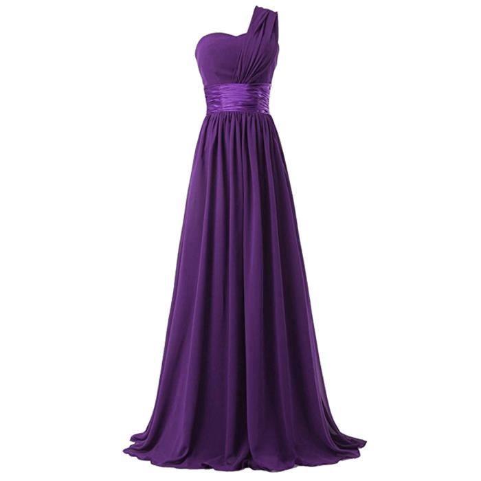 robe de soirée robe longue robe violette robe de mariée seule épaule soie taille